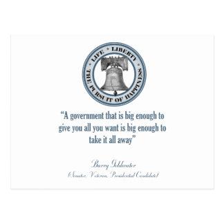Cita de Barry Goldwater gobierno grande Postal