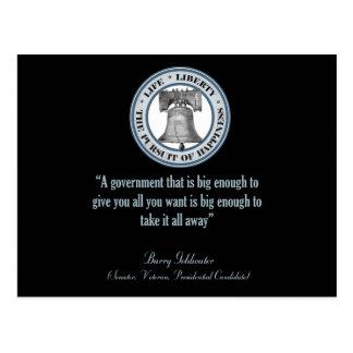 Cita de Barry Goldwater gobierno grande Tarjetas Postales