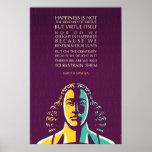 Cita de Baruch Spinoza: La felicidad no es la Póster