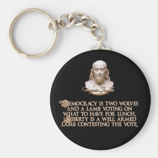 Cita de Ben Franklin: 2 lobos y un cordero bien ar Llaveros