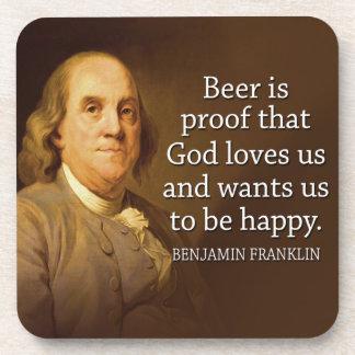 Cita de Ben Franklin en la cerveza Posavasos