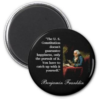"""Cita de Ben Franklin """"la constitución de los E.E.U Imán Redondo 5 Cm"""