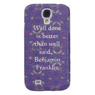 Cita de Benjamin Franklin con diseño primitivo Funda Para Galaxy S4