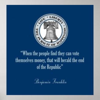 Cita de Benjamin Franklin (dinero) Póster