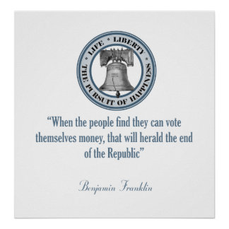 Cita de Benjamin Franklin dinero Poster