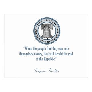 Cita de Benjamin Franklin (dinero) Postales