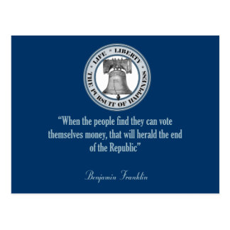 Cita de Benjamin Franklin (dinero) Tarjetas Postales