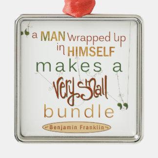 Cita de Benjamin Franklin paquete muy pequeño Adorno Navideño Cuadrado De Metal
