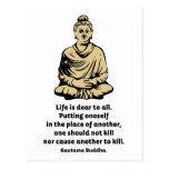 Cita de Buda: La vida es estimada a todos Tarjetas Postales