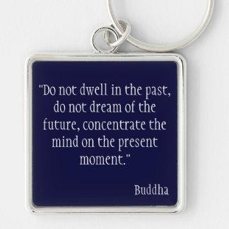 Cita de Buda Llavero Cuadrado Plateado