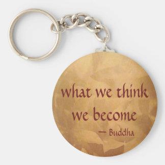 Cita de Buda; Qué pensamos nos convertimos Llavero Redondo Tipo Pin
