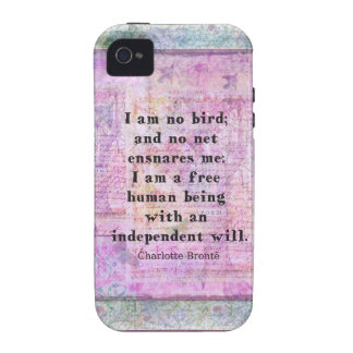 Cita de Charlotte Bronte sobre independencia Case-Mate iPhone 4 Funda