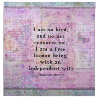 Cita de Charlotte Bronte sobre independencia Servilletas