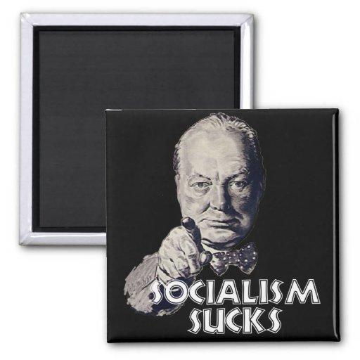 Cita de Churchill: ¡El socialismo chupa! Imán Cuadrado