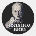 Cita de Churchill: ¡El socialismo chupa! Pegatinas Redondas