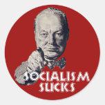 Cita de Churchill: ¡El socialismo chupa! Etiquetas Redondas