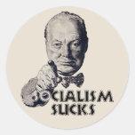Cita de Churchill: ¡El socialismo chupa! Pegatina Redonda