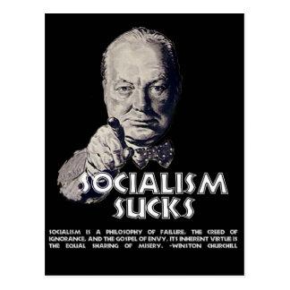 Cita de Churchill:  ¡El socialismo chupa! Postales