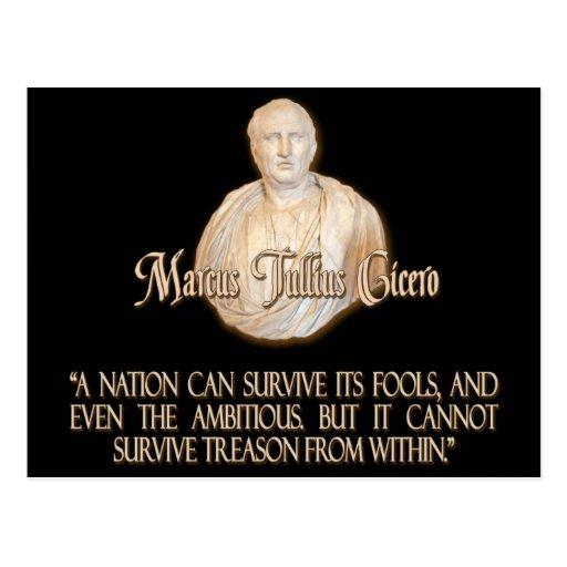 Cita de Cicero en traición Postales