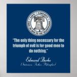 Cita de Edmund Burke (buen mal de v) Poster