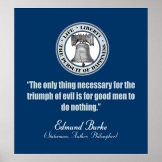 Cita de Edmund Burke (buen mal de v) Póster