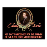Cita de Edmund Burke: Triunfos malvados Postales
