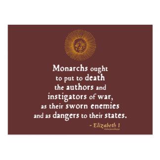 Cita de Elizabeth I en guerra Tarjetas Postales
