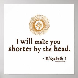 Cita de Elizabeth I en la decapitación Poster