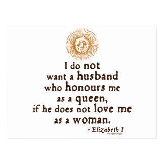 Cita de Elizabeth I en maridos Tarjeta Postal