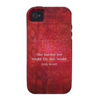 Cita de Emily Bronte - ella quemó demasiado brilla iPhone 4 Funda