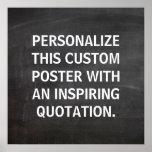 Cita de encargo de la pizarra, personalizada poster