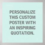 Cita de encargo, personalizada, azul del huevo de  posters