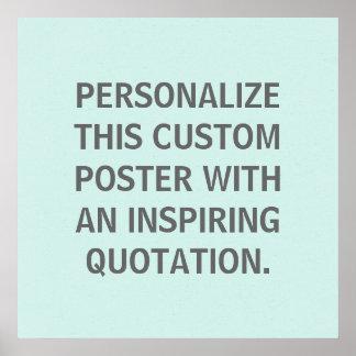Cita de encargo, personalizada, azul del huevo de  póster