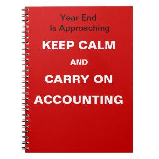 Cita de finales de ano financiera de la contabilid cuaderno