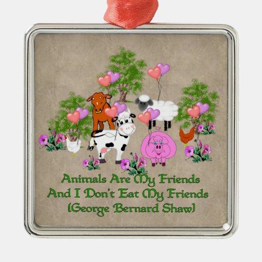 Cita de G.B. Shaw Vegetarian Adorno Cuadrado Plateado