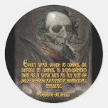 Cita de George Orwell en propaganda del tiempo de  Etiqueta