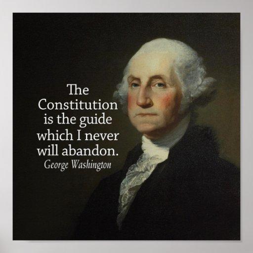 Cita de George Washington en la constitución Póster