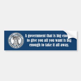 Cita de Goldwater gobierno grande Etiqueta De Parachoque
