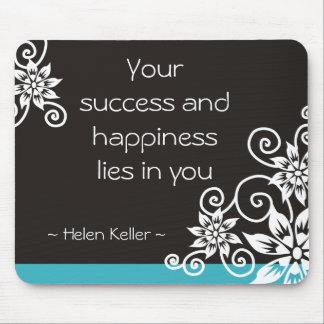 Cita de Helen Keller del éxito y de la felicidad Alfombrilla De Ratón