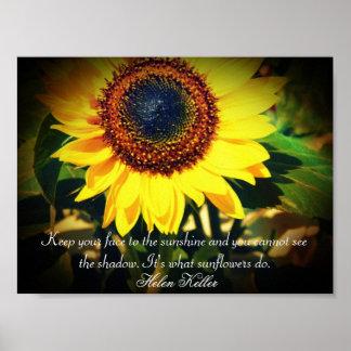Cita de Helen Keller del girasol: El elevar Póster