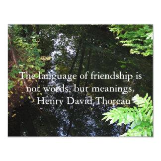 """Cita de Henry David Thoreau sobre AMISTAD Invitación 4.25"""" X 5.5"""""""