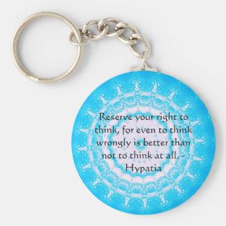 Cita de Hypatia sobre la libertad de pensamiento Llavero Redondo Tipo Pin