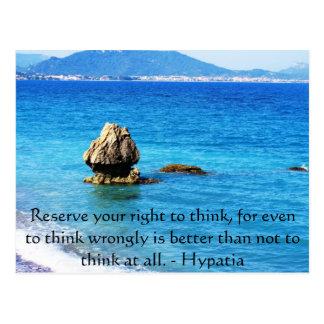 Cita de Hypatia sobre la libertad de pensamiento Postales