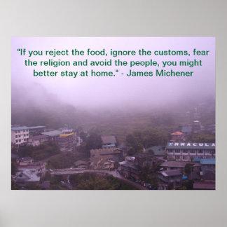 Cita de James Michener sobre viaje Póster