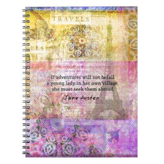 Cita de Jane Austen sobre aventura y viaje Notebook