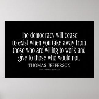 Cita de Jefferson en democracia Poster