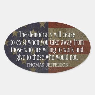 Cita de Jefferson en democracia Pegatina Ovalada