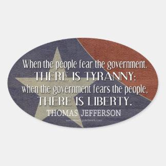 Cita de Jefferson en libertad y tiranía Calcomanías De Ovales Personalizadas