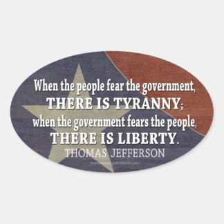 Cita de Jefferson en libertad y tiranía Calcomanía De Oval