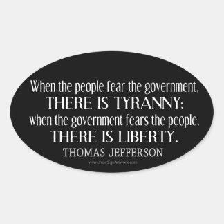 Cita de Jefferson en libertad y tiranía Pegatina De Oval Personalizadas